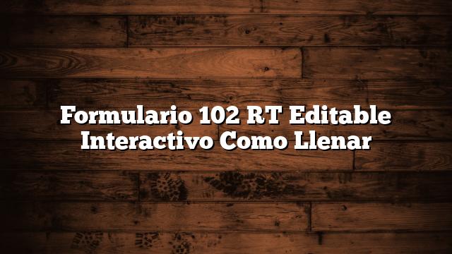 Formulario 102 RT  Editable Interactivo  Como Llenar