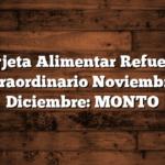 Tarjeta Alimentar Refuerzo Extraordinario Noviembre y Diciembre: MONTO