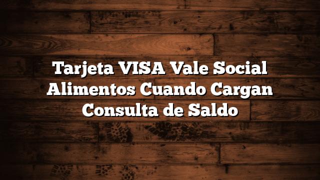 Tarjeta VISA Vale Social Alimentos  Cuando Cargan  Consulta de Saldo